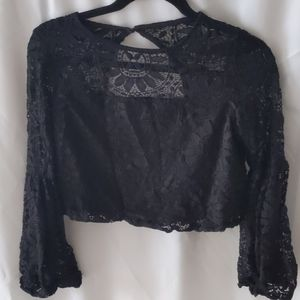 Xhiliration black lace bell sleeve crop top size s